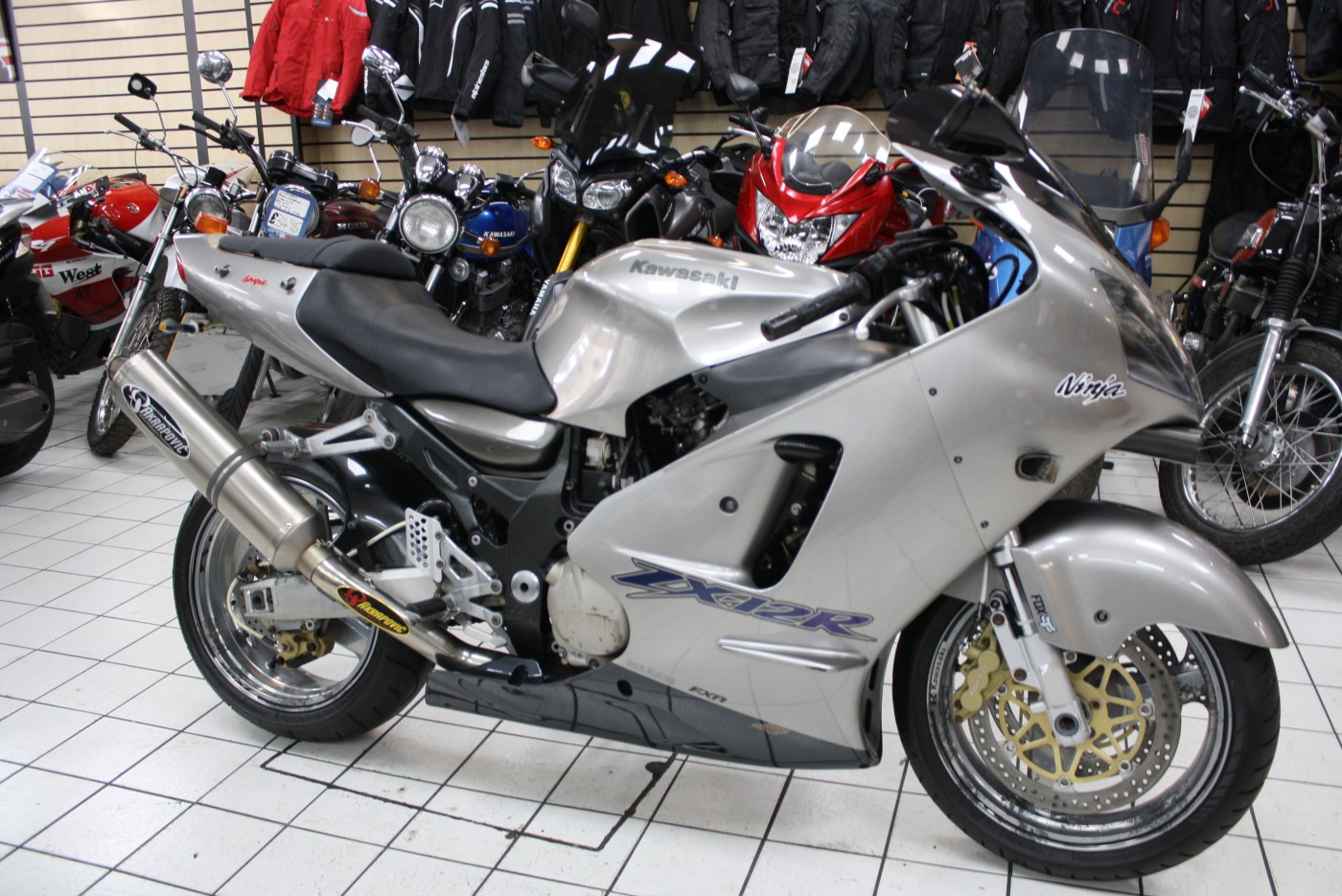 2001 Kawasaki ZX12R Silver Akapovic 37K